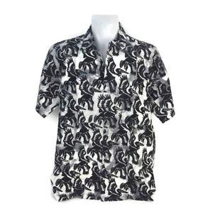 Rum-Reggae-Men-Aloha-Hawaiian-Shirt-Pelican-Do-It-Gray-Black-Short-Sleeve-Size-L