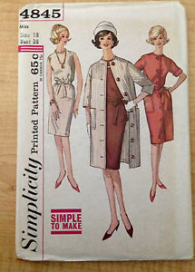 Vintage 1950 1960s SIMPLICITY Women Sewing Pattern 4845 One-Piece Dress Coat B38
