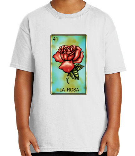 1728C Mexican Chicano Loteria Kid/'s T-shirt LA ROSA Number 41 Tee for Youth