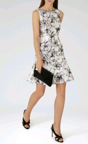 Designer Marque Imprimé Floral Onyx Neuf Taille 4 Blanc cassé Hem Dress Peplum Reiss Or0aw6qO
