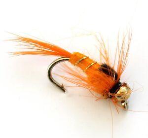 6-x-Trout-Fishing-Flies-Or-Tete-Nymphes-33J-x-6-x-orange-et-or