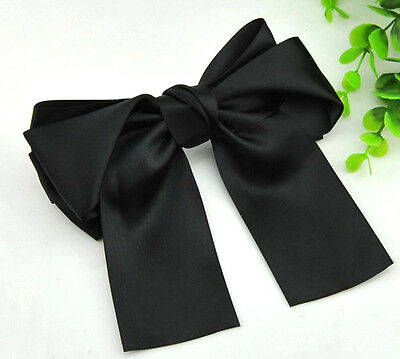 Cute Big Satin Hair Bow With Long Tassel French Hair Clip Boutique Ribbon Bow