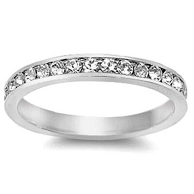 White Stackable Eternity Wedding Anniversary Band .925 Sterling Silver 2-13
