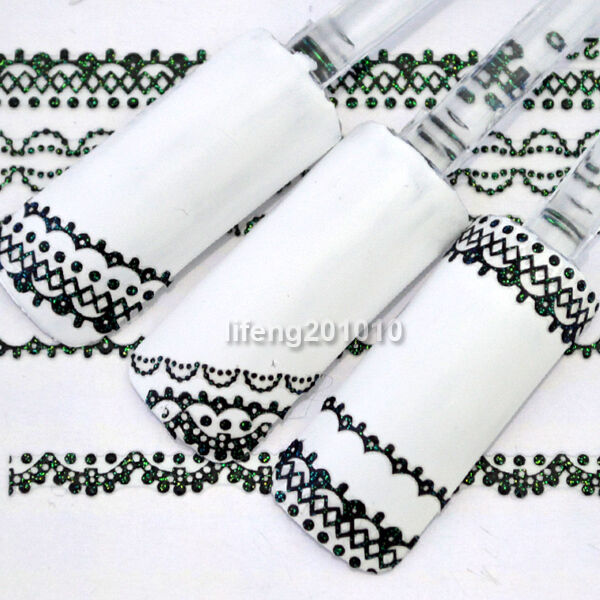 3D Green Glitter Lace Design Nail Art Sticker Decals For Nail Decoration HL223