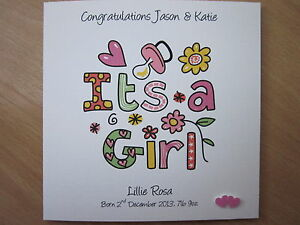 Personalised-Handmade-034-It-039-s-a-Girl-034-New-Baby-Girl-Card-Parents-Grandparents