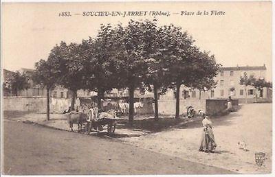 Creatief Cpa 69. Soucieu En Jarrest.(jarret). Place De La Flette .animee .s.f.n°1883.tbe Modern Ontwerp