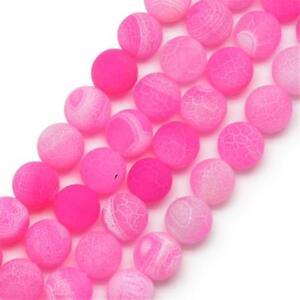 Edelsteine-Achat-Perlen-Rund-8mm-Matt-Pink-Natur-Achatstein-Schmuck-BEST-R311