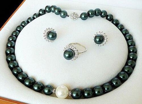 Véritable 10 mm Vert Foncé SOUTH SEA SHELL Collier de Perles Anneau Stud Earring Set