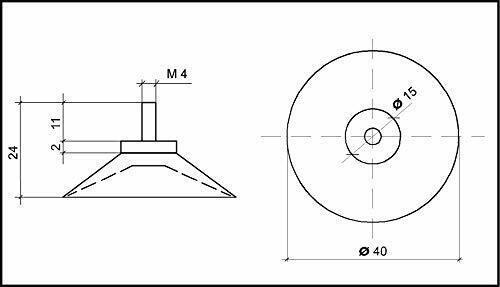Profi Ventosa Supporto diapositive TRASPARENTE Ø 40 mm con filettatura v2a 20 St
