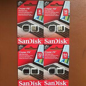 New-SanDisk-8-16-32-64-GB-Cruzer-Fit-CZ33-USB-2-0-3-0-Flash-Stick-Mini-Pen-Drive