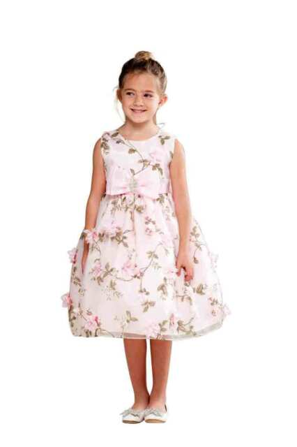 Posh Sweet Pink Floral Embroidered Flower Girl Party Dress, Crayon Kids USA