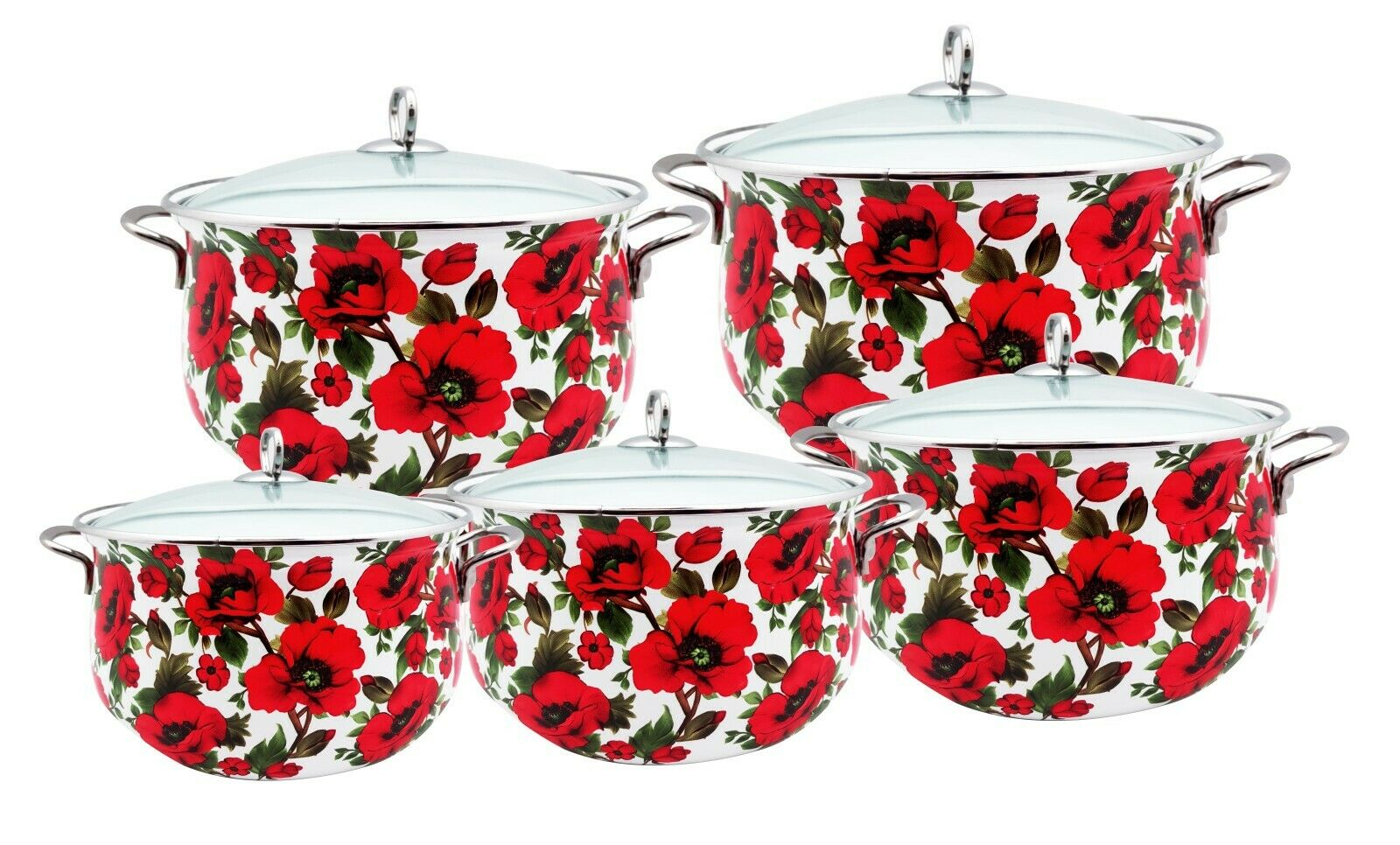 5020 10Pcs PREMIUM Esmalte Juego De Ollas Con Tapa De Cristal, rojo Floral
