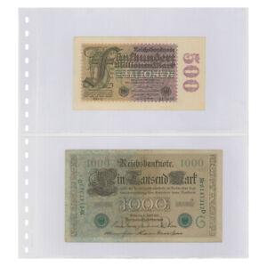 10 Lindner 830P Transparent Pockets Banknote sleeves 2x 240x140mm + White Zwl