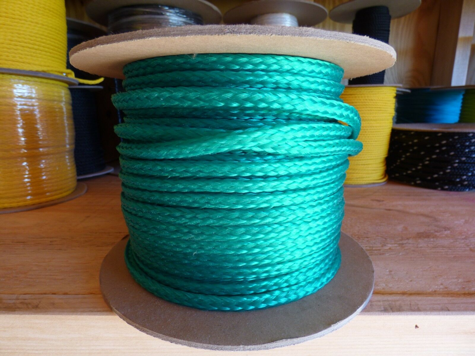 12 mm x 430 ft. spool  Hollow Braid Polyethylene Rope. Bright Green
