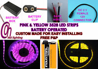 Dolls Houses Led Strip Lights Yellow & Pink 3528 Pp3 9v Battery Operated