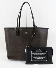 Coach Signature Reversible PVC City Tote Handbag Pouch Brown Black F36658 New