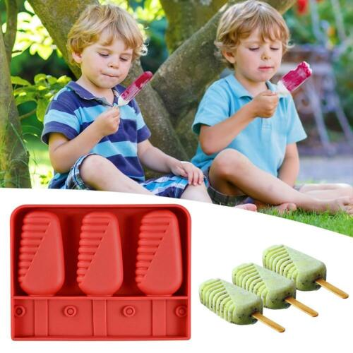 3-Cavity Silicone Popsicle Mold Reusable DIY Popsicles Tray Kitchen Supplies