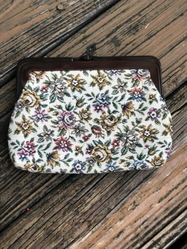 Vintage Cream Floral Tapestry Purse Handbag Bag Cl