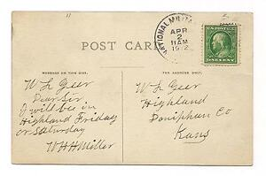NATIONAL-MILITARY-HOME-1912-POSTMARK-POSTCARD-w-WILLIAM-H-H-MILLER-SIGNATURE