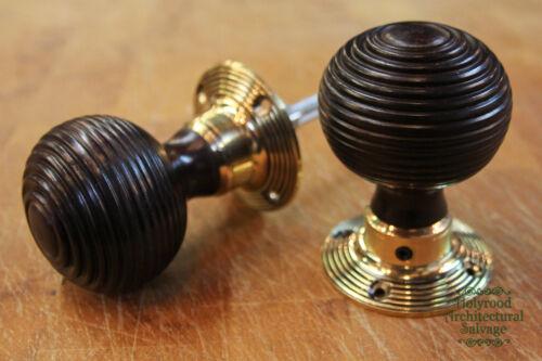 WDK7 6 x Pairs of Rosewood Beehive Doorknobs w// Brass Collars