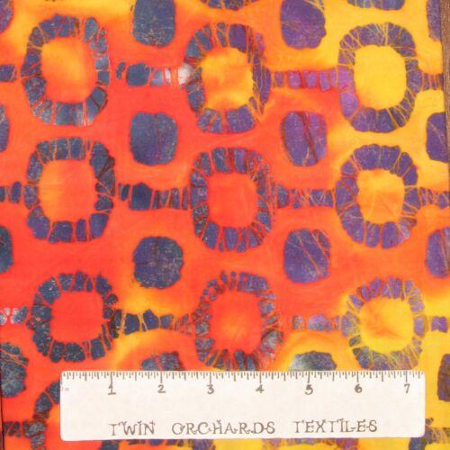 """Purple Geometric on Orange and Yellow Batik Fabric 58/"""" Wide x YARD"""