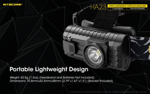 Nitecore HA23 250 LM Ultra Léger Projecteur comprend 2x AA batterie