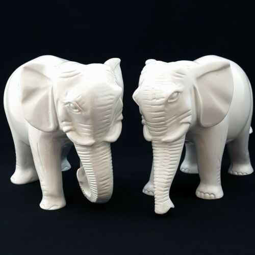 A Pair of Auspicious White Elephants with Trunks downward FENG SHUI SYMBOL