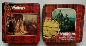 Lot-of-2-Empty-Tins-WALKERS-SCOTLAND-Shortbread-Cookies-Various-Size-Please-Read