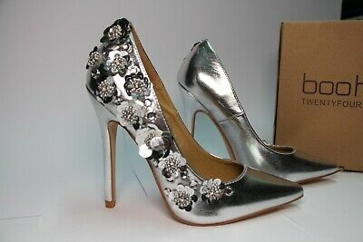 Ladies New Boohoo Silver Shoes Heel S 3 Maya Metallic Flower Embellished Court | eBay