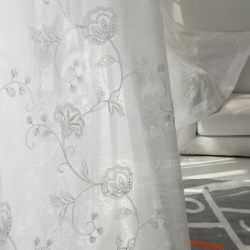 White Sheer Tulle Embroidered Curtains Fashion Modern Rod Pocket Drape 1 Panel