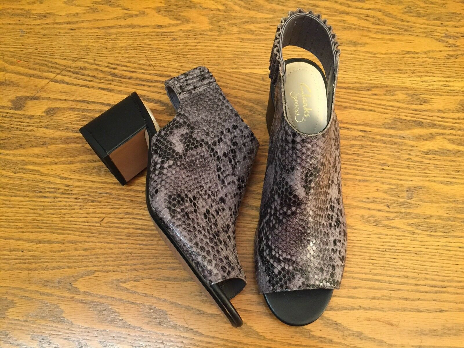 CLARKS SNAKE HEEL PRINT LEATHER OPEN TOE HEEL SNAKE Schuhe NEW SIZE 7.5 7dde54