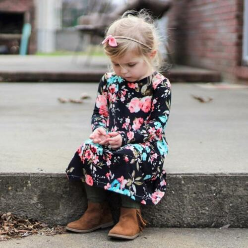 Toddler Infant Kids Baby Girls Long Sleeve Floral Print Dress Irregular Dress