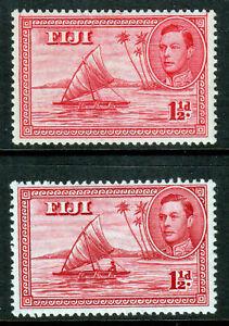 Fiji-KGVI-1938-1-1-2d-Carmine-Die-I-amp-II-SG251-252a-Mint-Lightly-Hinged-MLH