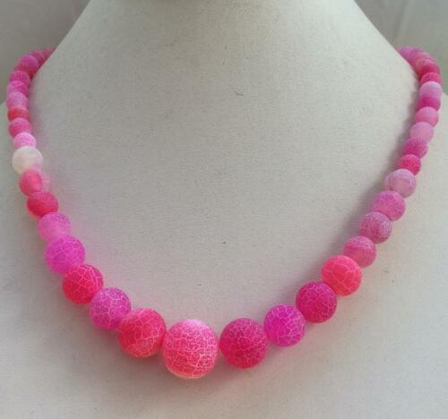 """Attractive 6-12mm Pink Dragon Veins Agate Onyx Beads Necklace 18/"""""""
