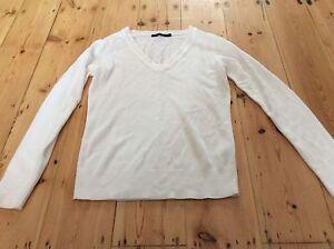 Women-039-s-White-V-Neck-Sweatshirt-Size-10