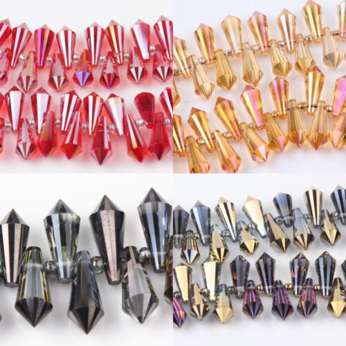 Lots 10//20Pcs à Facettes Tchèque Verre Cristal Teardrop Charms Spacer Beads 15x6mm