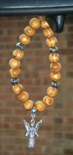 In Car Wood Wooden Beads /& Archangel Gabriel Charm Religious Holy Angel Gift New