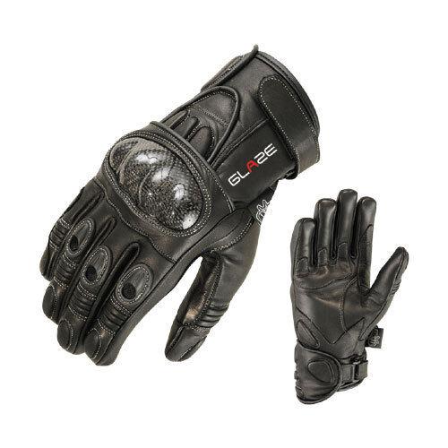 Guanti Moto Motocicletta Biker Guanti di pelle nero moto guanti