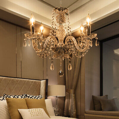 5 Arms Chandelier Crystal Glass Ceiling Light E12 Pendant Lamp Transparent Color | eBay