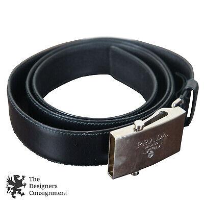 609a5d1282d02 Details about Prada Mens Saffiano Black Leather Belt Fully Adjustable  42/105 Logo Engraved