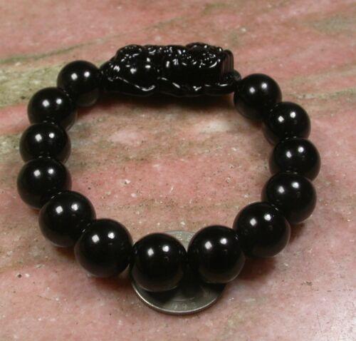 CHINESE Black JADE Bead Dragon Pi Xiu Coin Bangle Feng Shui Bracelet