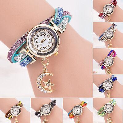 Women Crystal Band Wave Bracelet Dial Quartz Analog Wrap Wrist Watch кварц часы
