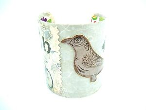 Decoupage-Metal-Bangle-Cuff-Bracelet-Initial-034-B-034-Bird-Bicycle-Wide-handcrafted