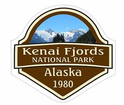 "Kenai Fjords National Park oval car window bumper sticker decal 5/"" x 3/"""