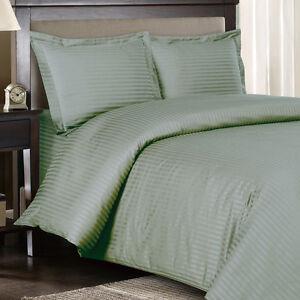 1000-Thread-Count-100-Egyptian-Cotton-DUVET-Set-FULL-QUEEN-Sage-Stripe