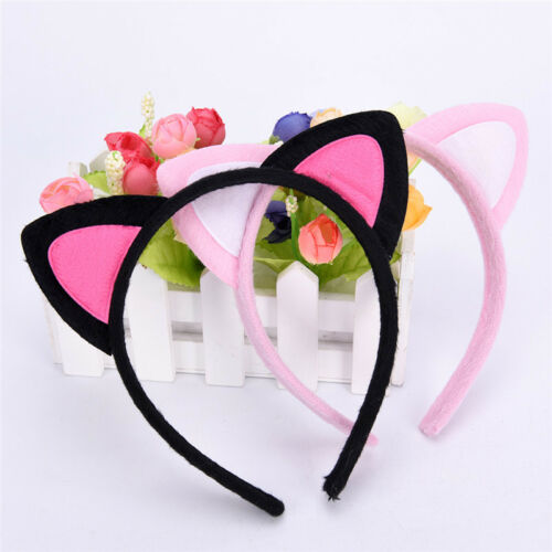 Women Cat Ear Headband Metal Glitter Headwear Hair Band Costume Party Cosplay