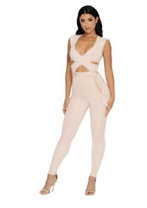 Oh Polly Brand New Baby Pink Cut Out Short Sleeve Jumpsuit Size 8
