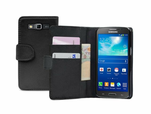 Wallet BLACK Leather Case Cover Pouch Samsung Galaxy Grand 2 II SM-G7102 Dual
