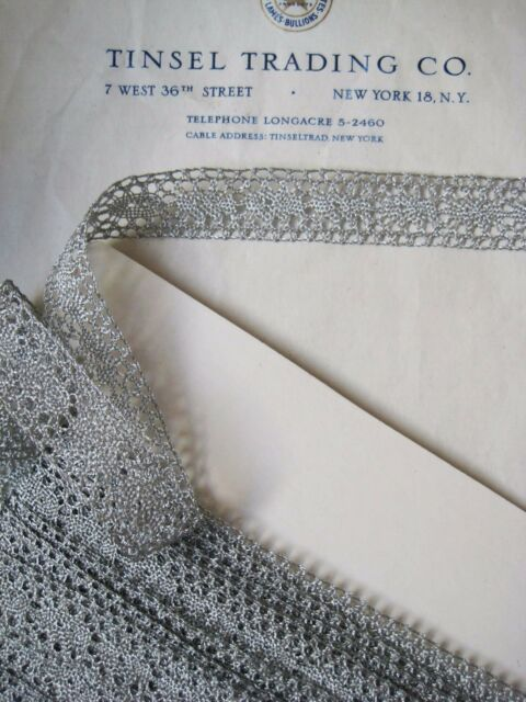 "5 yards European Silver Metallic Straight Edge Lace  13/16"" Trim"