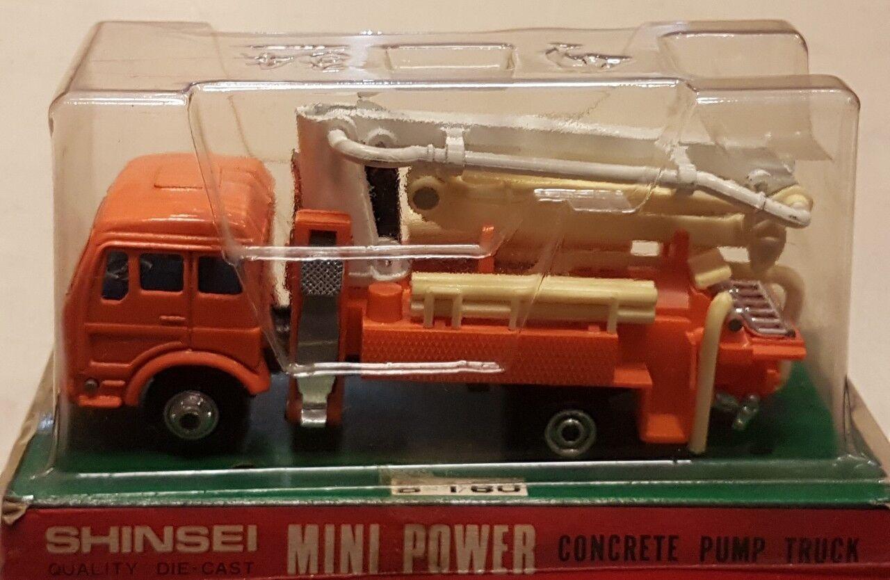 Shinsei Mini Power Concrete Pump Truck scale app.1 60 die cast metal Japan '70
